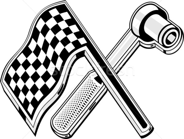 checkered flag socket wrench crossed Stock photo © patrimonio