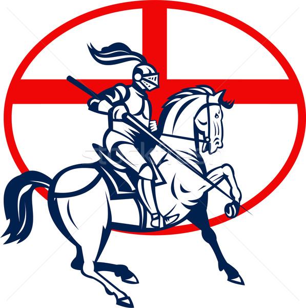 English Knight Riding Horse England Flag Circle Retro Stock photo © patrimonio