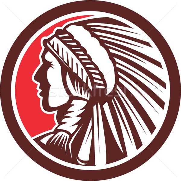 Native American Warrior Chief Circle Stock photo © patrimonio