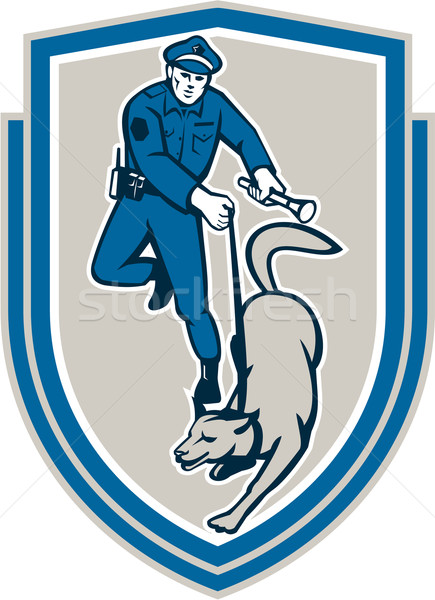 Policeman With Police Dog Canine Crest Retro Stock photo © patrimonio