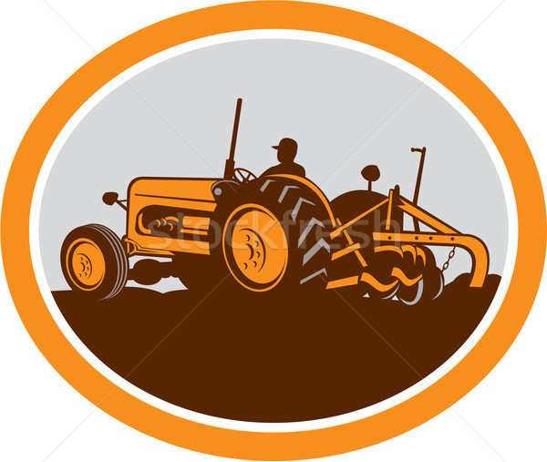 Vintage Farm Tractor Farmer Plowing Oval Retro Stock photo © patrimonio