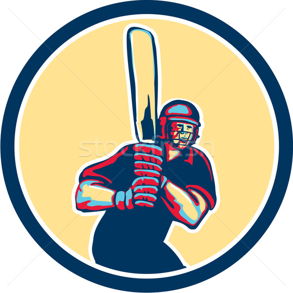 Cricket Player Batsman Circle Retro Stock photo © patrimonio