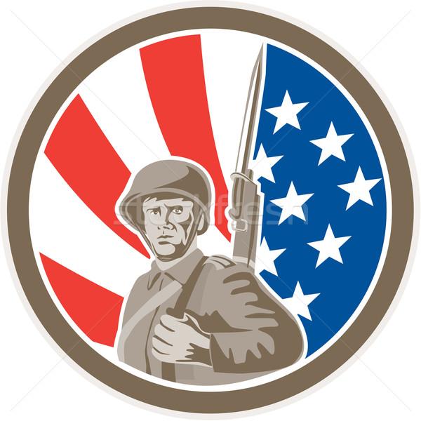 Stock photo: American Soldier Serviceman Bayonet Circle Retro
