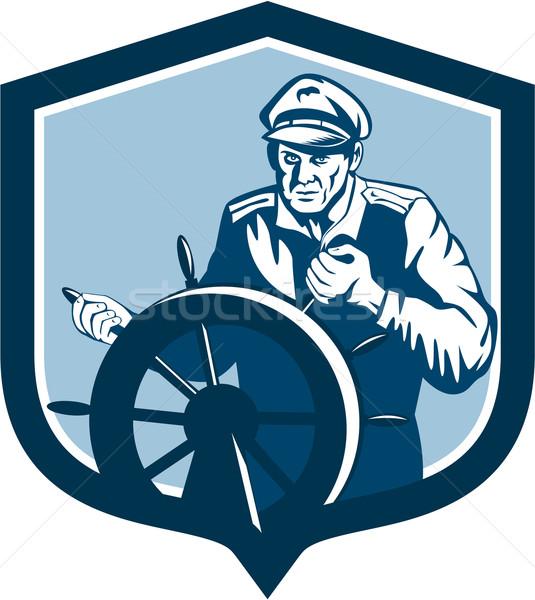 Fisherman Sea Captain Shield Retro Stock photo © patrimonio