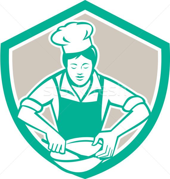 Female Chef Mixing Bowl Shield Retro Stock photo © patrimonio