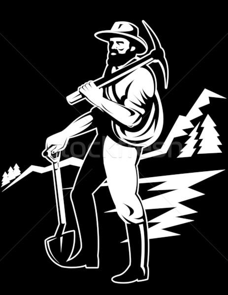 miner with pick axe and shovel Stock photo © patrimonio