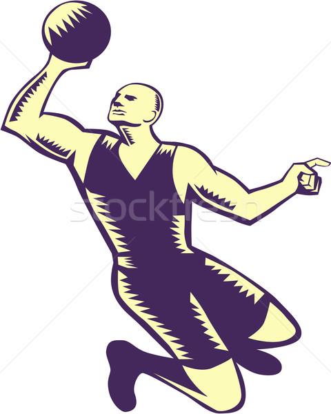 Basketball Player Dunk Ball Woodcut Stock photo © patrimonio