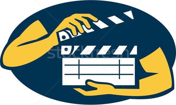 Hand Holding Movie Clapboard Oval Retro Stock photo © patrimonio