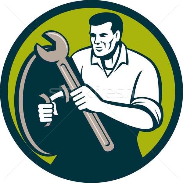 механиком гаечный ключ ключа круга ретро иллюстрация Сток-фото © patrimonio