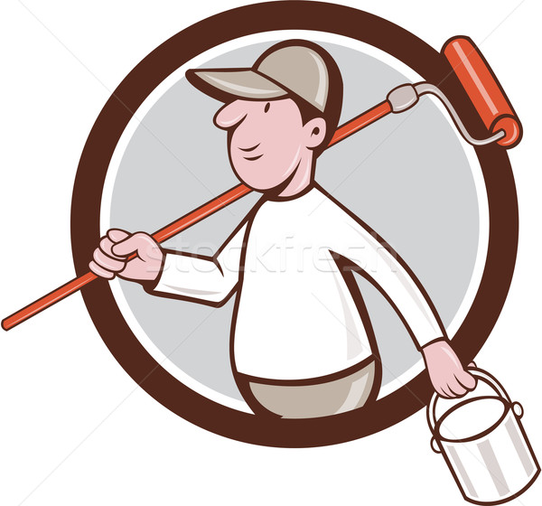 House Painter Paint Roller Can Circle Cartoon Stock photo © patrimonio