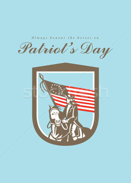 Patriots Day Greeting Card American Revolutionary Serviceman Horse Flag Stock photo © patrimonio