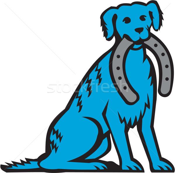Bleu chien séance Horseshoe rétro Photo stock © patrimonio