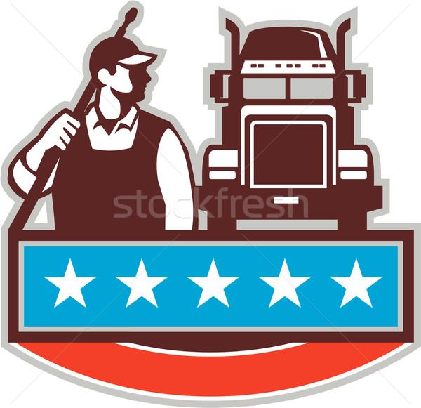 Nyomás alátét munkás teherautó USA zászló Stock fotó © patrimonio