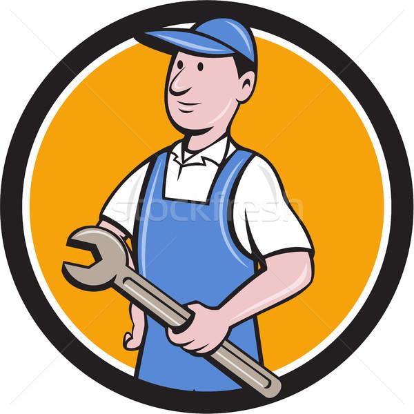 Repairman Holding Spanner Circle Cartoon  Stock photo © patrimonio