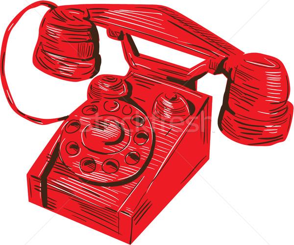 Téléphone vintage dessin croquis style illustration Photo stock © patrimonio
