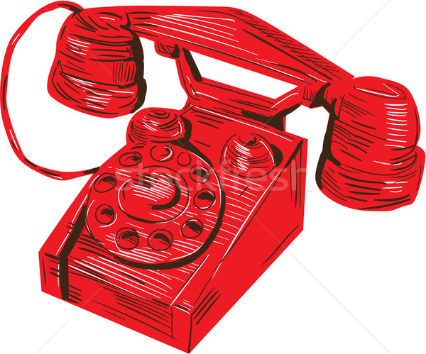 Telefon klasszikus rajz rajz stílus illusztráció Stock fotó © patrimonio
