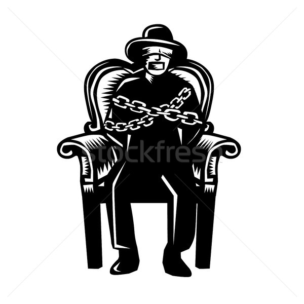 Man Gagged Chained to Grand Arm Chair Woodcut Stock photo © patrimonio