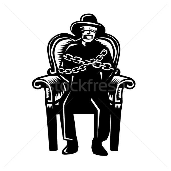 Man arm stoel illustratie hoed geblinddoekt Stockfoto © patrimonio