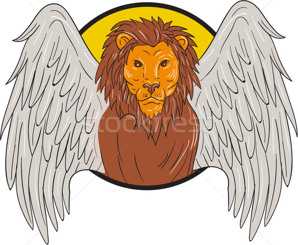 Winged Lion Head Circle Drawing Stock photo © patrimonio