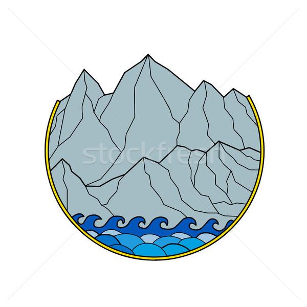Egyenetlen hegy terjedelem hullámok kör vonal Stock fotó © patrimonio
