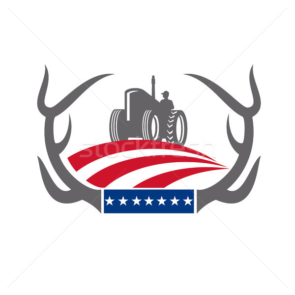 Antler Farm Tractor American Flag Retro Stock photo © patrimonio