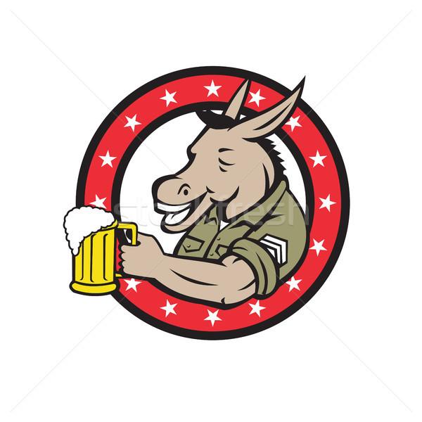 Ezel bier cirkel retro retro-stijl illustratie Stockfoto © patrimonio