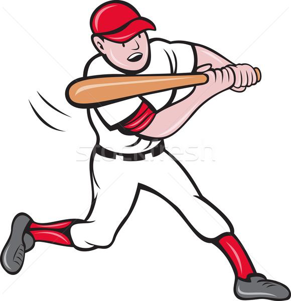 Jogador de beisebol desenho animado estilo ilustração isolado branco Foto stock © patrimonio