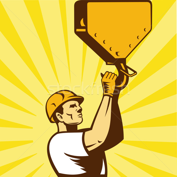 construction worker hook retro style Stock photo © patrimonio