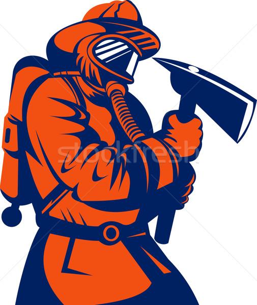 Strażak ognia myśliwiec ilustracja w stylu retro Zdjęcia stock © patrimonio