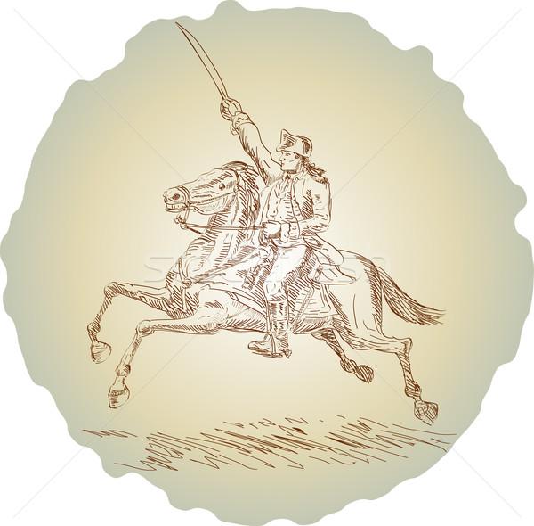 Americano revolução soldado equitação cavalo ilustração Foto stock © patrimonio