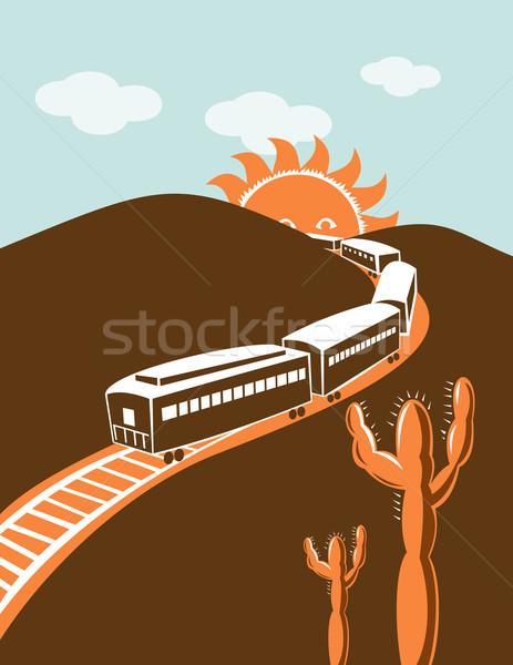 Dizel tren lokomotif Retro güneş dağ Stok fotoğraf © patrimonio