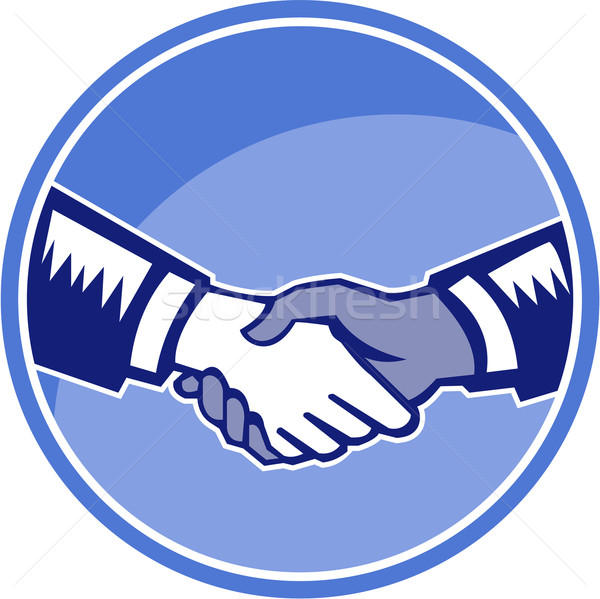 Handshake Black White Woodcut Circle Stock photo © patrimonio