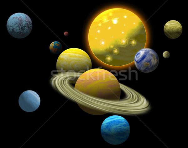 Naprendszer illusztráció bolygók szett fekete retró stílus Stock fotó © patrimonio