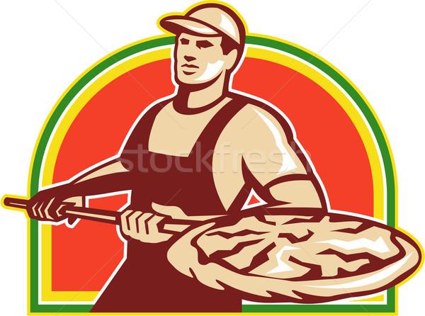 Baker Holding Peel With Pizza Pie Retro Stock photo © patrimonio