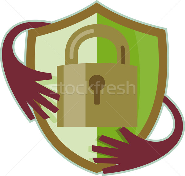 Padlock with shield and hands reaching in  Stock photo © patrimonio