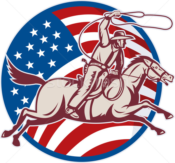 cowboy riding horse with lasso and american flag Stock photo © patrimonio