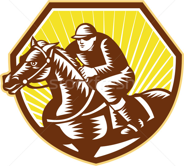 Thoroughbred Horse Racing Woodcut Retro Stock photo © patrimonio