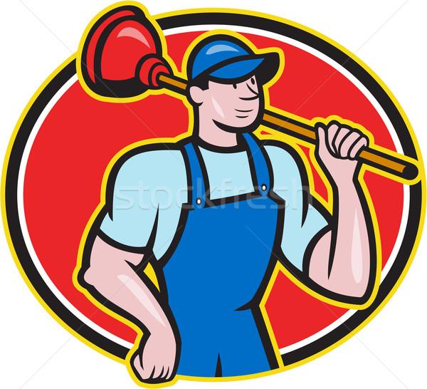 Plumber Holding Plunger Cartoon Stock photo © patrimonio
