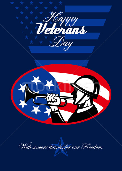 Modern Veterans Day American Soldier Greeting Card Stock photo © patrimonio