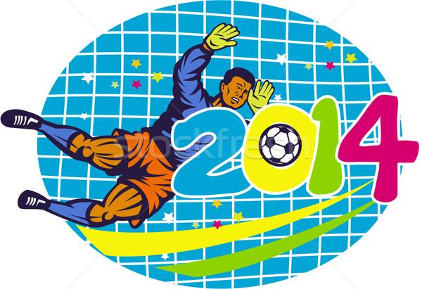 Brazília 2014 kapus futballista retro illusztráció Stock fotó © patrimonio