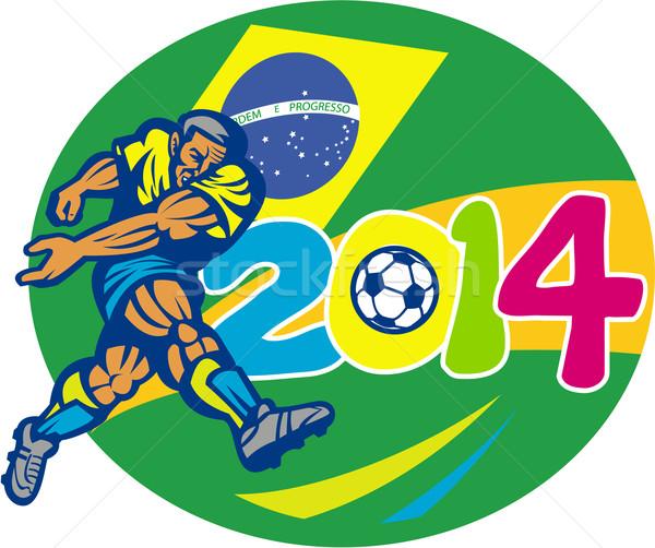 Brazil 2014 Soccer Football Player Retro Stock photo © patrimonio