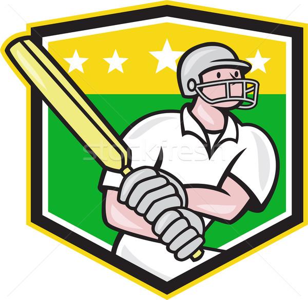 Cricket Player Batsman Batting Shield Star Stock photo © patrimonio