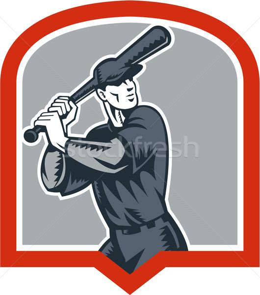 Baseball Batter Batting Woodcut Shield Stock photo © patrimonio