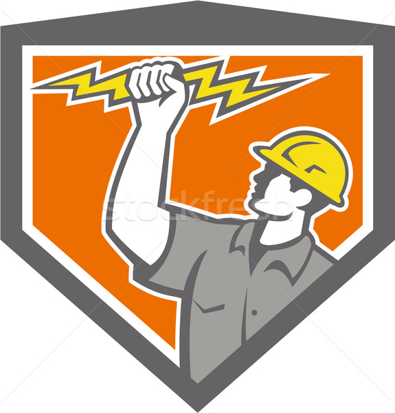 Electrician Wield Lightning Bolt Side Crest Stock photo © patrimonio