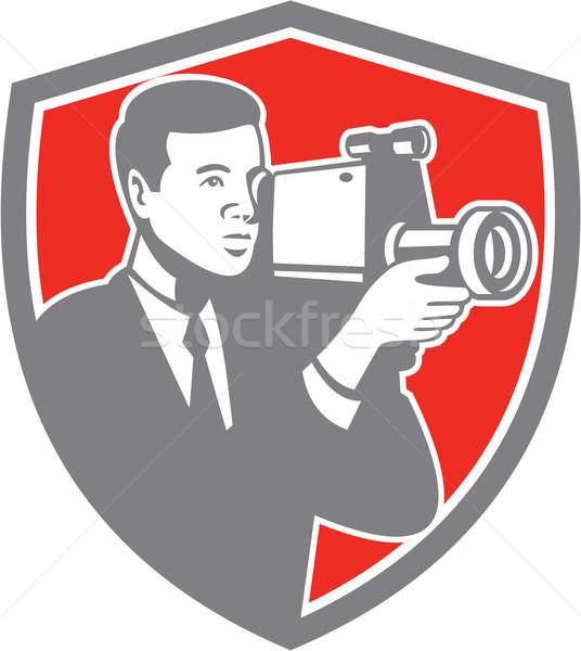 Video Cameraman Shooting Vintage Shield Retro Stock photo © patrimonio