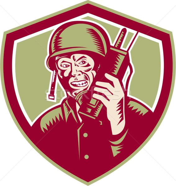 World War Two Soldier American Talk Radio Crest Stock photo © patrimonio