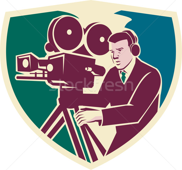 Cameraman Moviemaker Vintage Camera Shield Stock photo © patrimonio