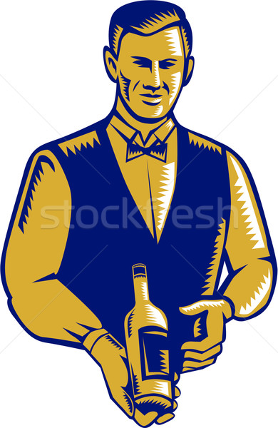 Waiter Presenting Wine Bottle Woodcut Stock photo © patrimonio