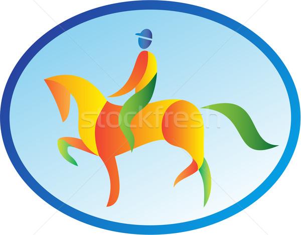 Equestrian Rider Dressage Oval Retro Stock photo © patrimonio