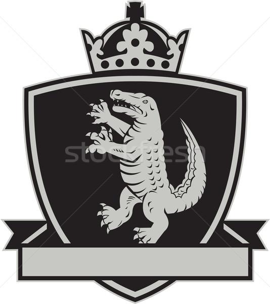 Gator stehen Seite Mantel Arme Wappen Stock foto © patrimonio
